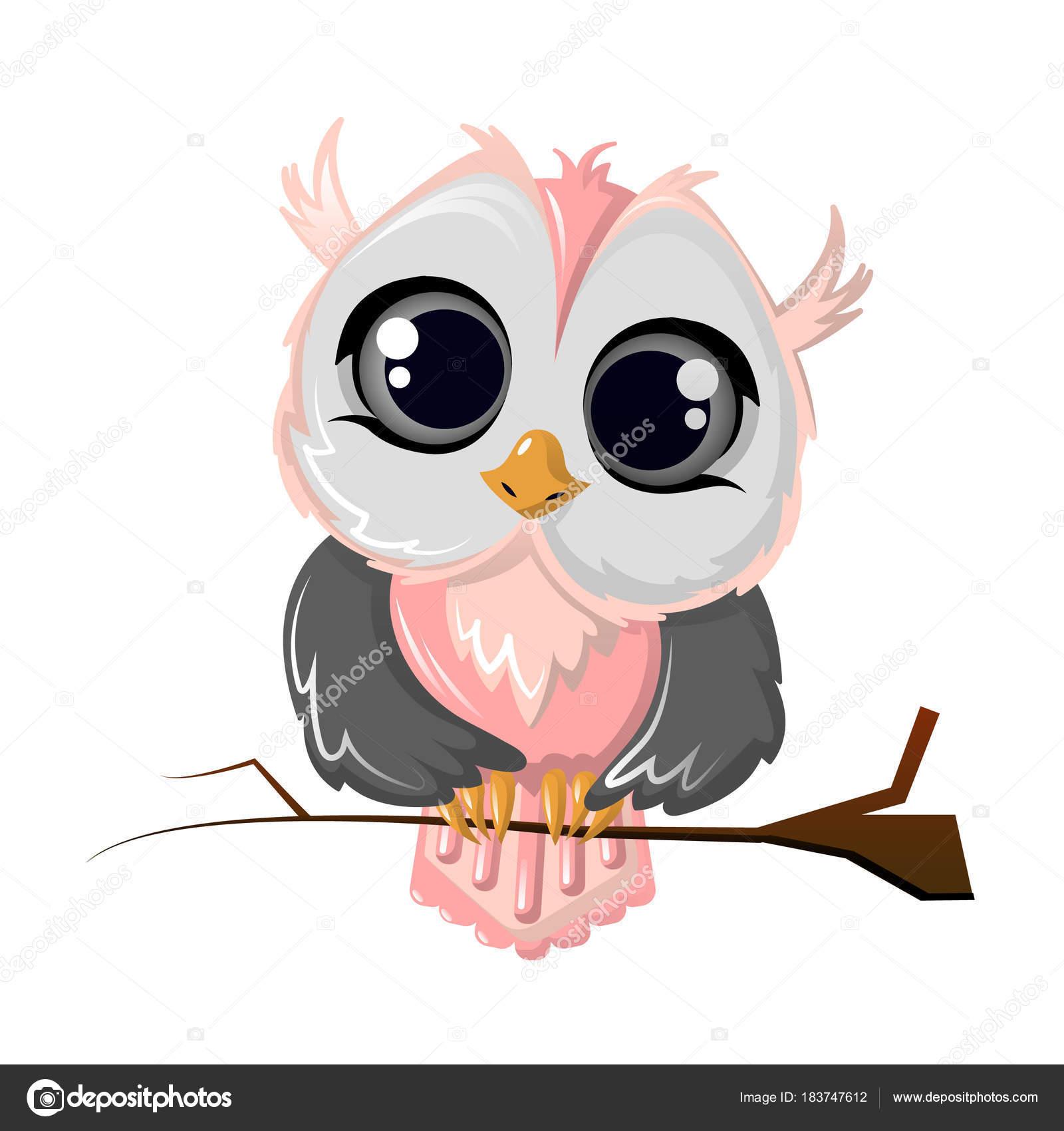 Schöne Lustige Comic Eule Vogel Auf Einem Ast Sitzend Stockvektor