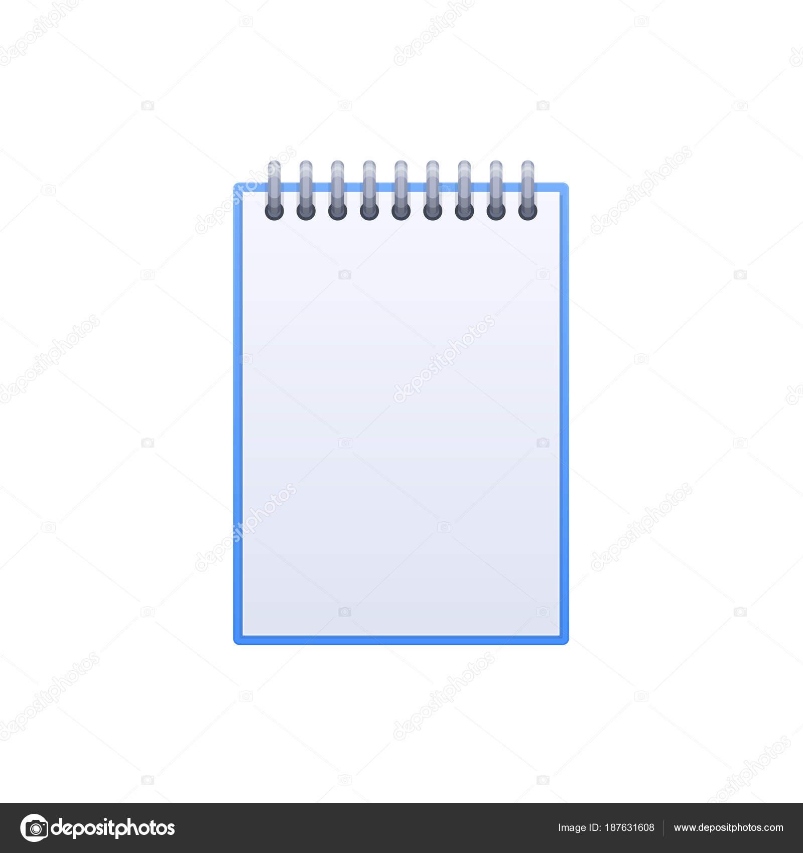 Diseño de libro de nota, páginas en blanco del cuaderno. Escritorio ...