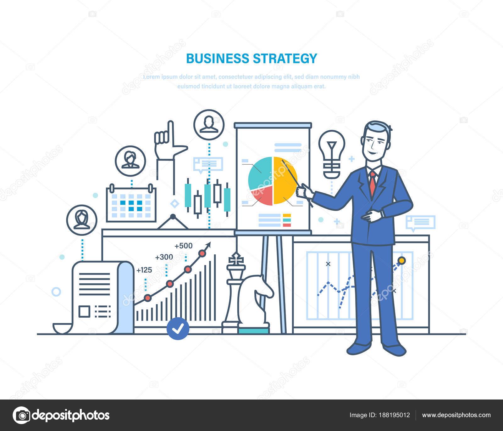 Geschäftsstrategie, Arbeitsplan. Finanzanalyse, marketing, Strategie ...