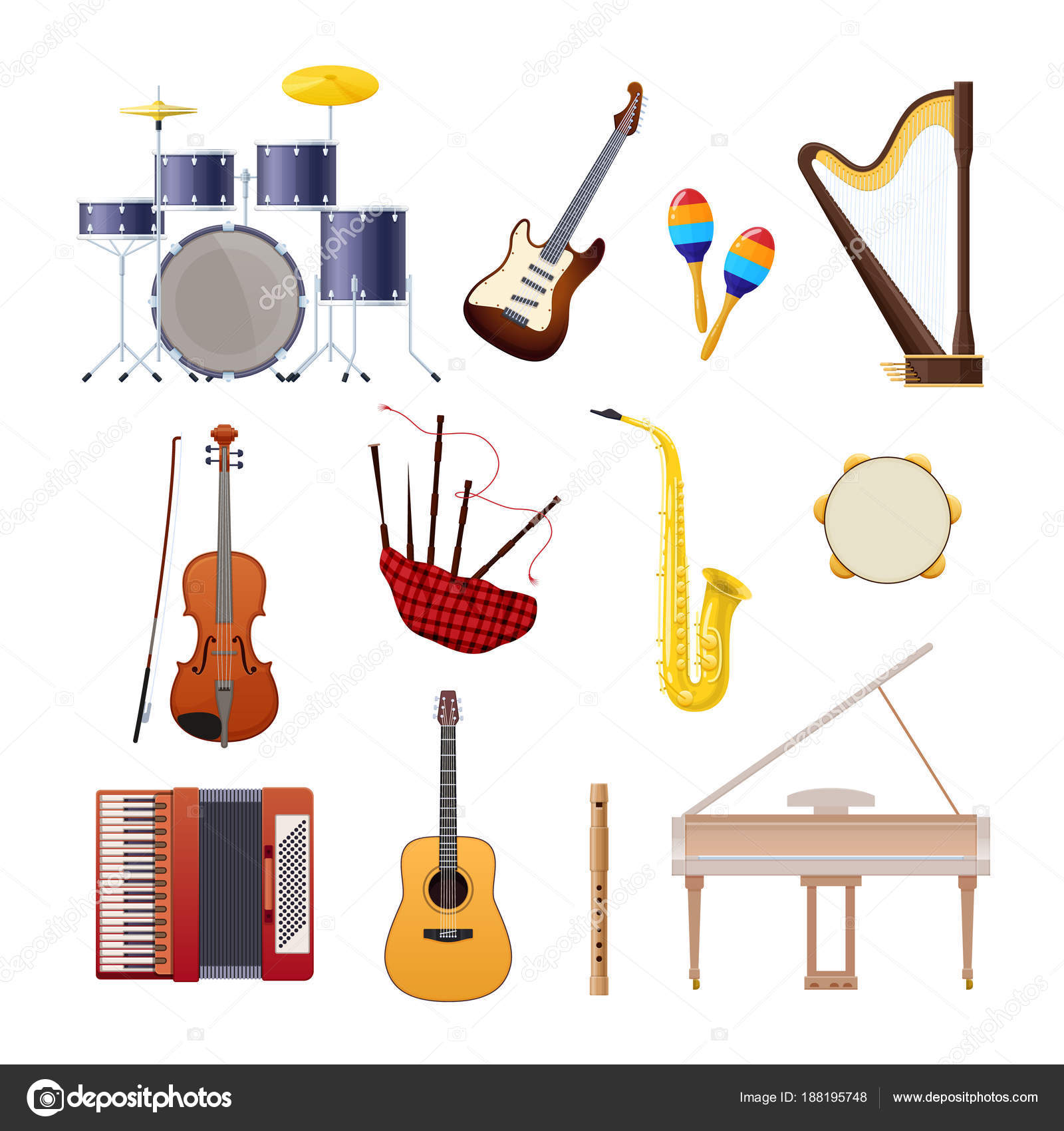 Set Of Classical Wooden And Metallic Musical Instruments Stock