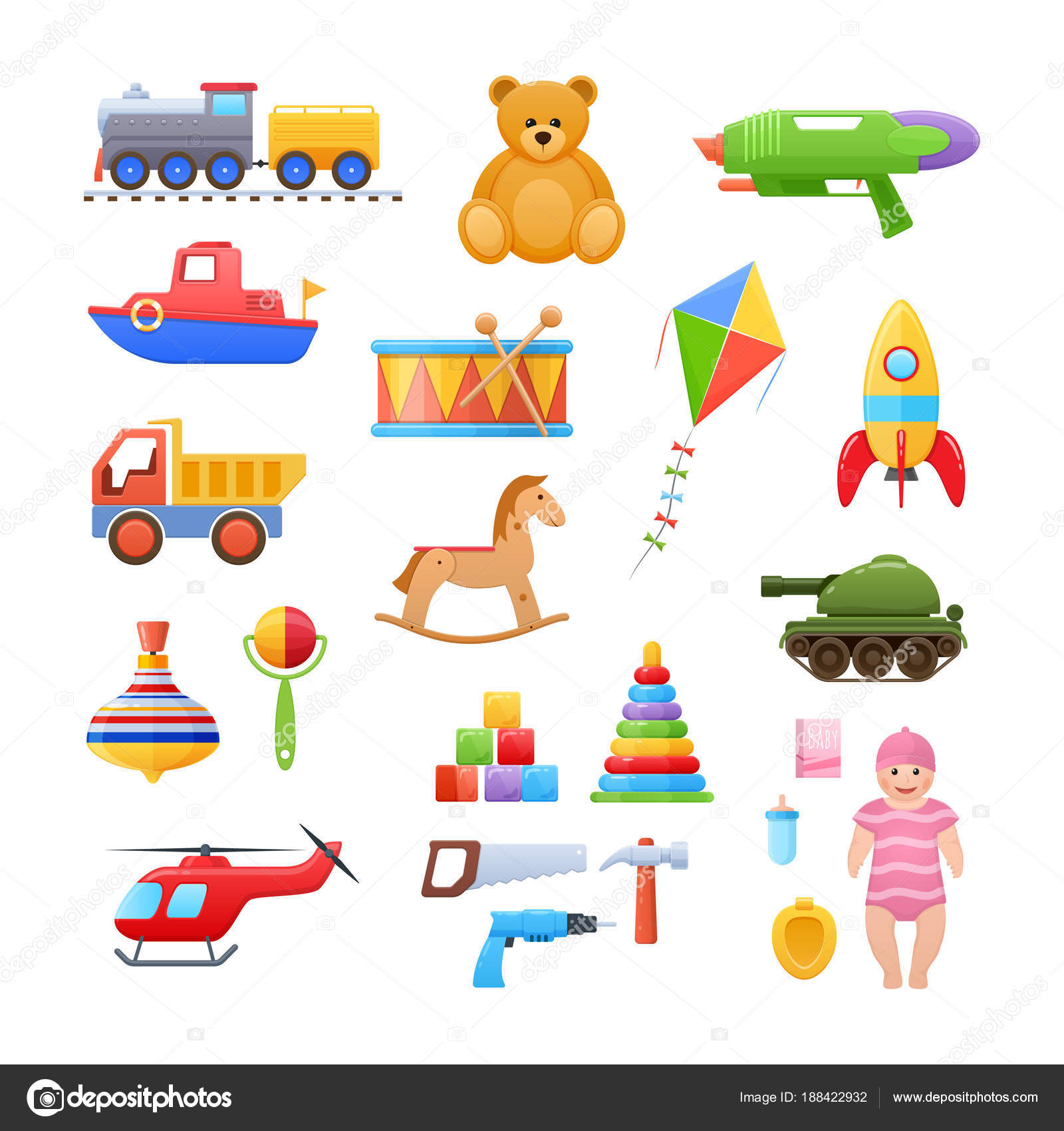 Satz von modernen bunte Kinder s Spielzeug. Spielzeug Bildungs ...