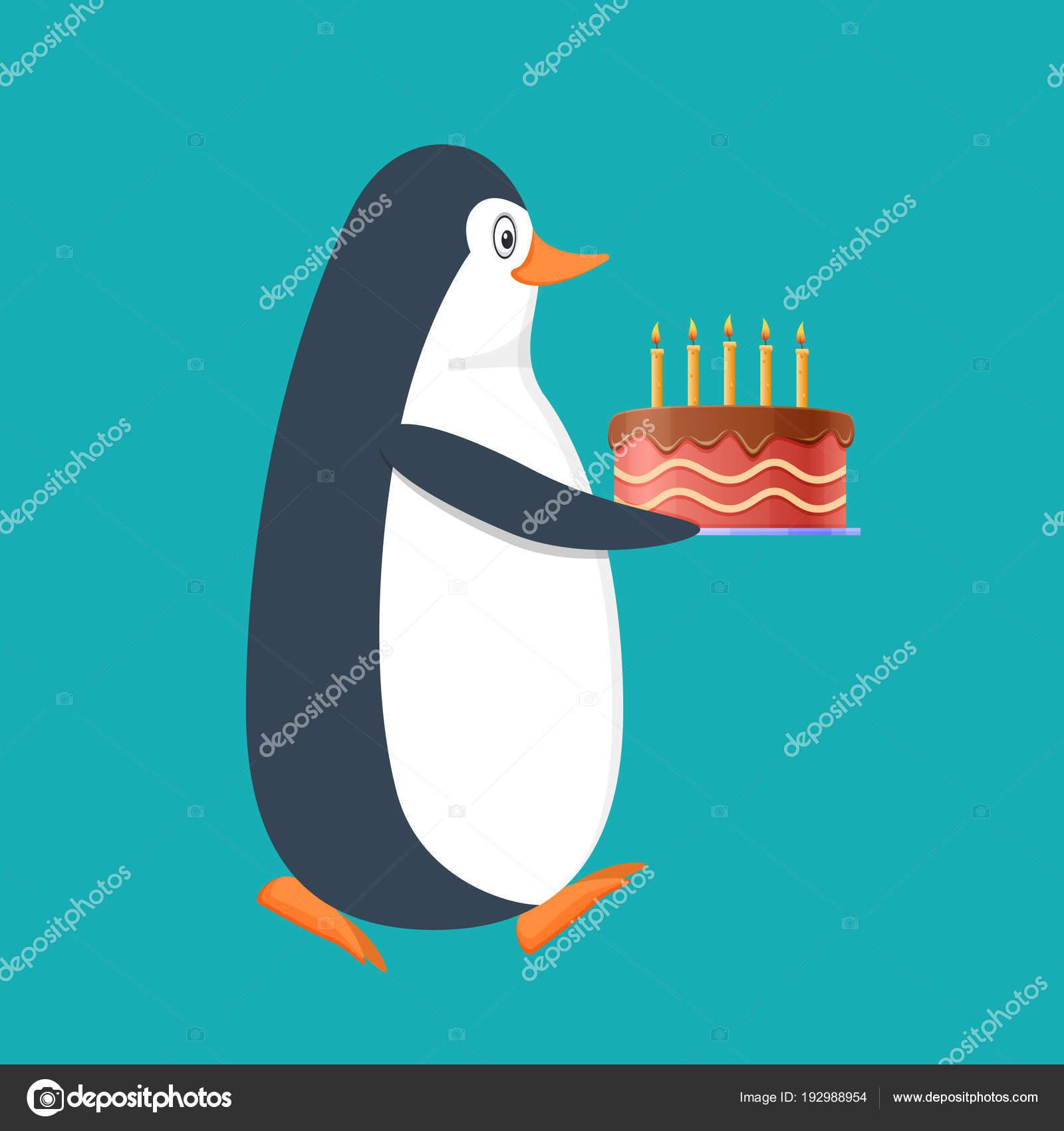 Lustigen Pinguin Antarktis Vogel Mit Grossen Geschenk Kuchen Und