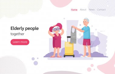 Couple old senior man woman going on a trip, packing their bags. Grey-haired elderly people together in city park cartoon vector illustration icon