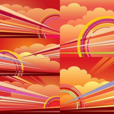 Abstract backgrownd sunrise sunset, clouds, sun, rays, orange, red