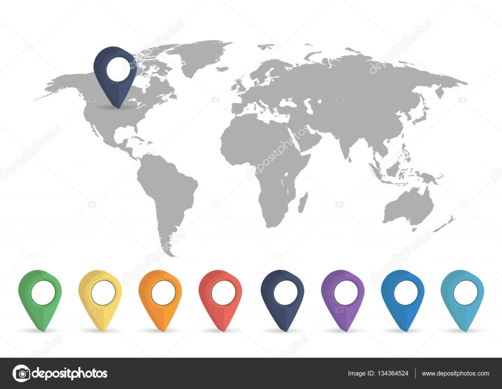 World map grey colored on a white background with pin stock vector world map grey colored on a white background with pin stock vector gumiabroncs Choice Image