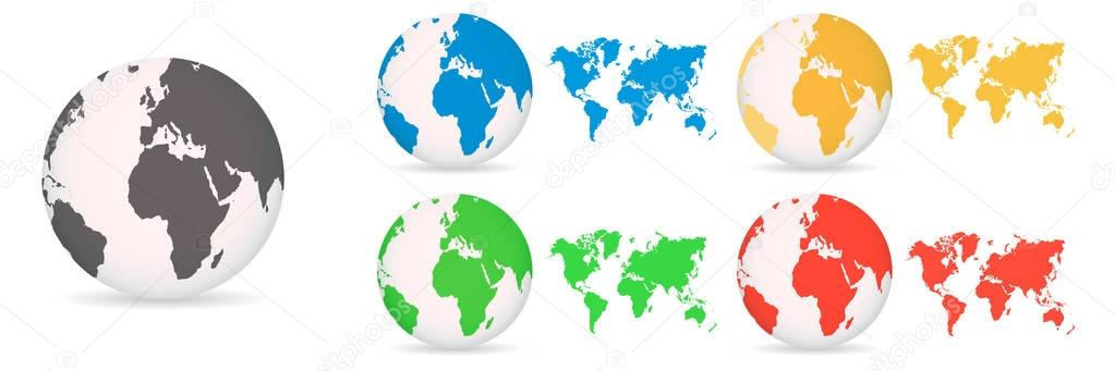 Globes with World Maps different colored on a white background