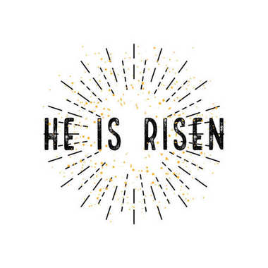 Easter, He is risen, in flat design on white background