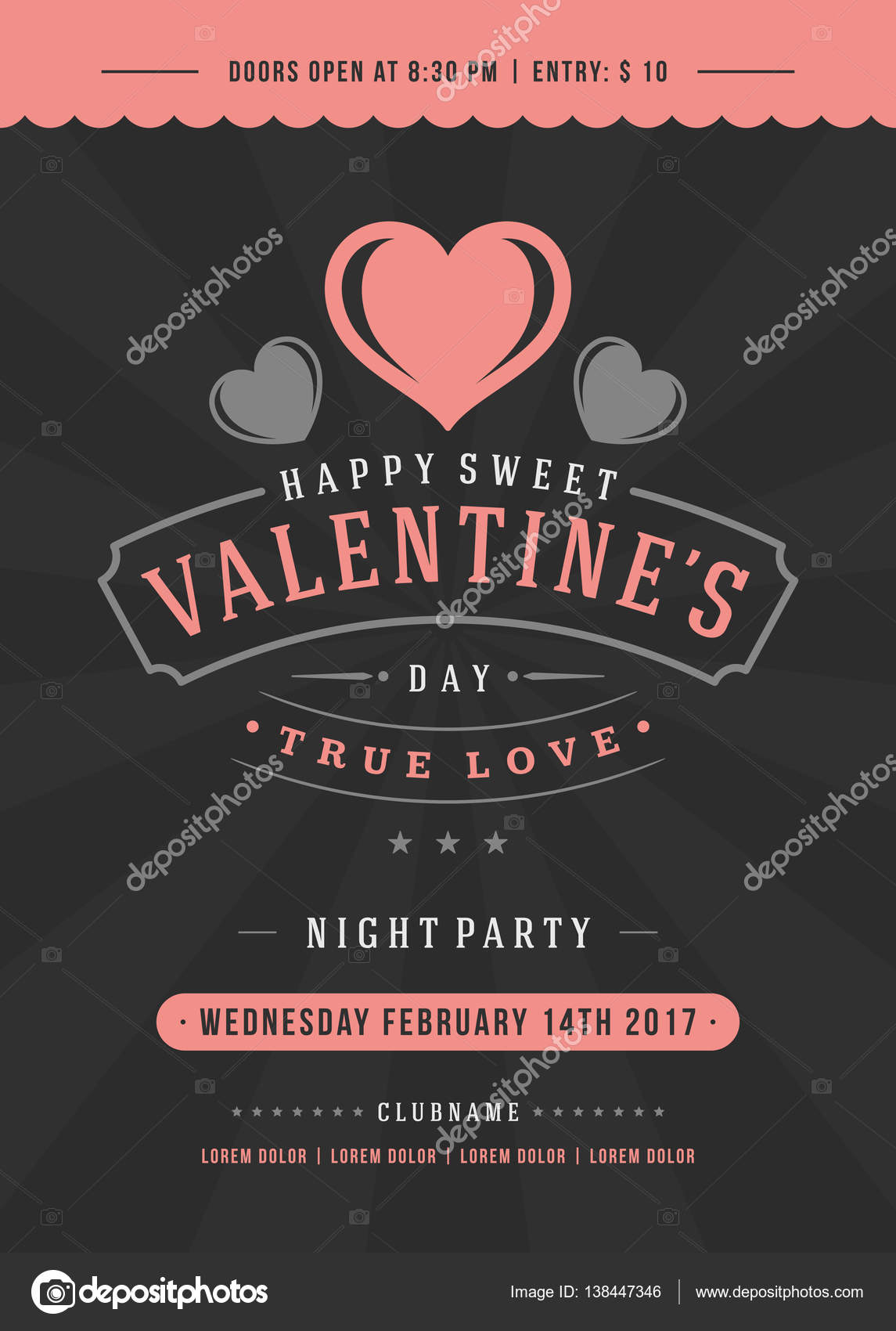 Happy valentines day party invitation or poster stock vector happy valentines day party invitation or poster stock vector stopboris