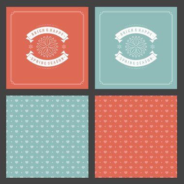 Spring Vector Typographic Posters or Greeting Cards Design Set.