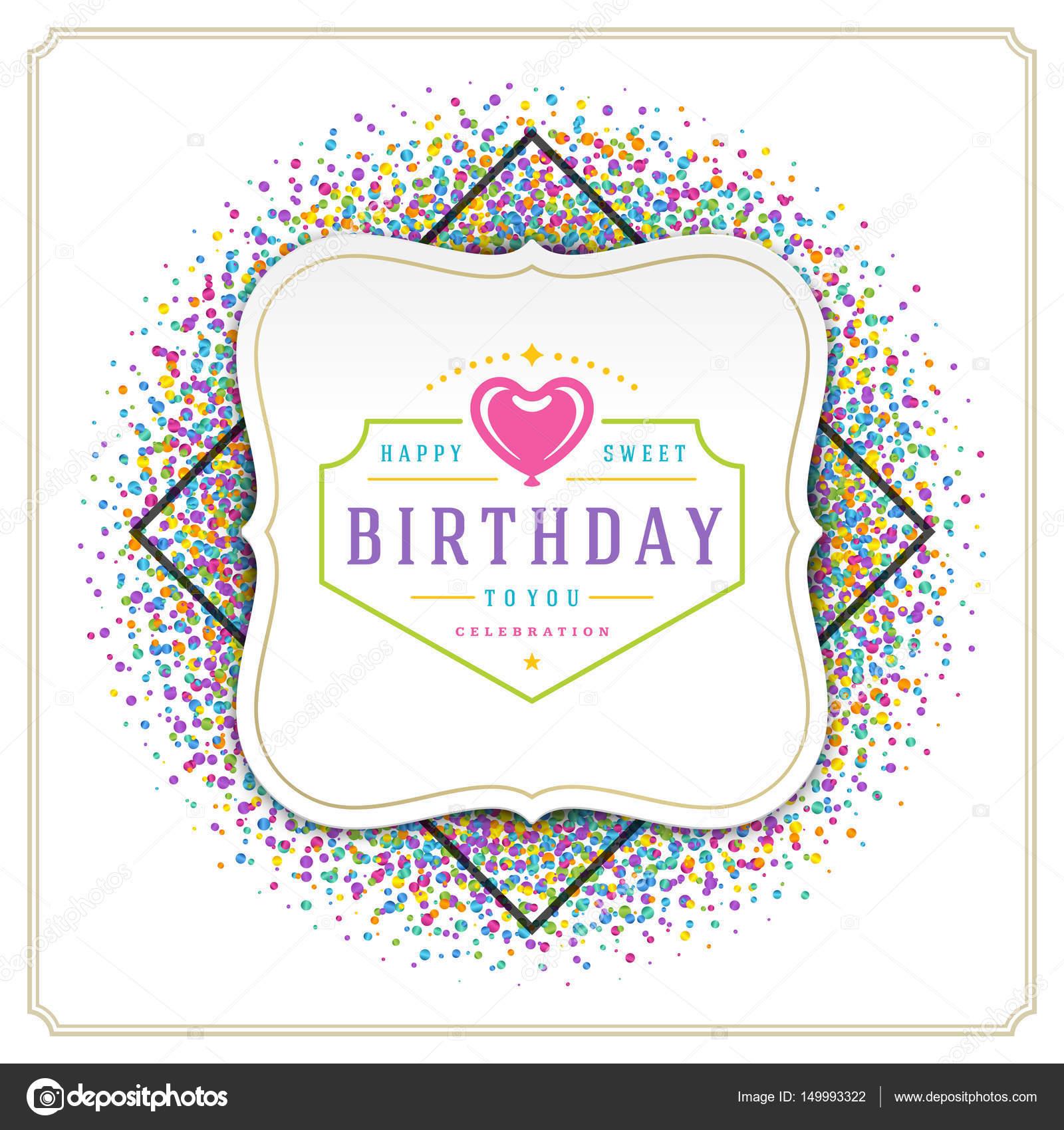 Happy Birthday Greeting Card Design Vektor Vorlage Stockillustration