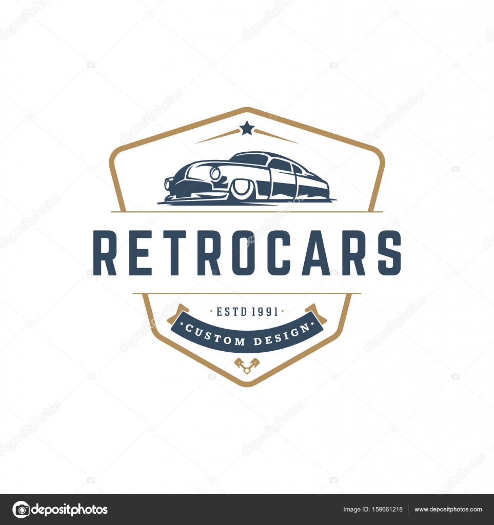 Hot rod car logo template vector design element vintage style ...