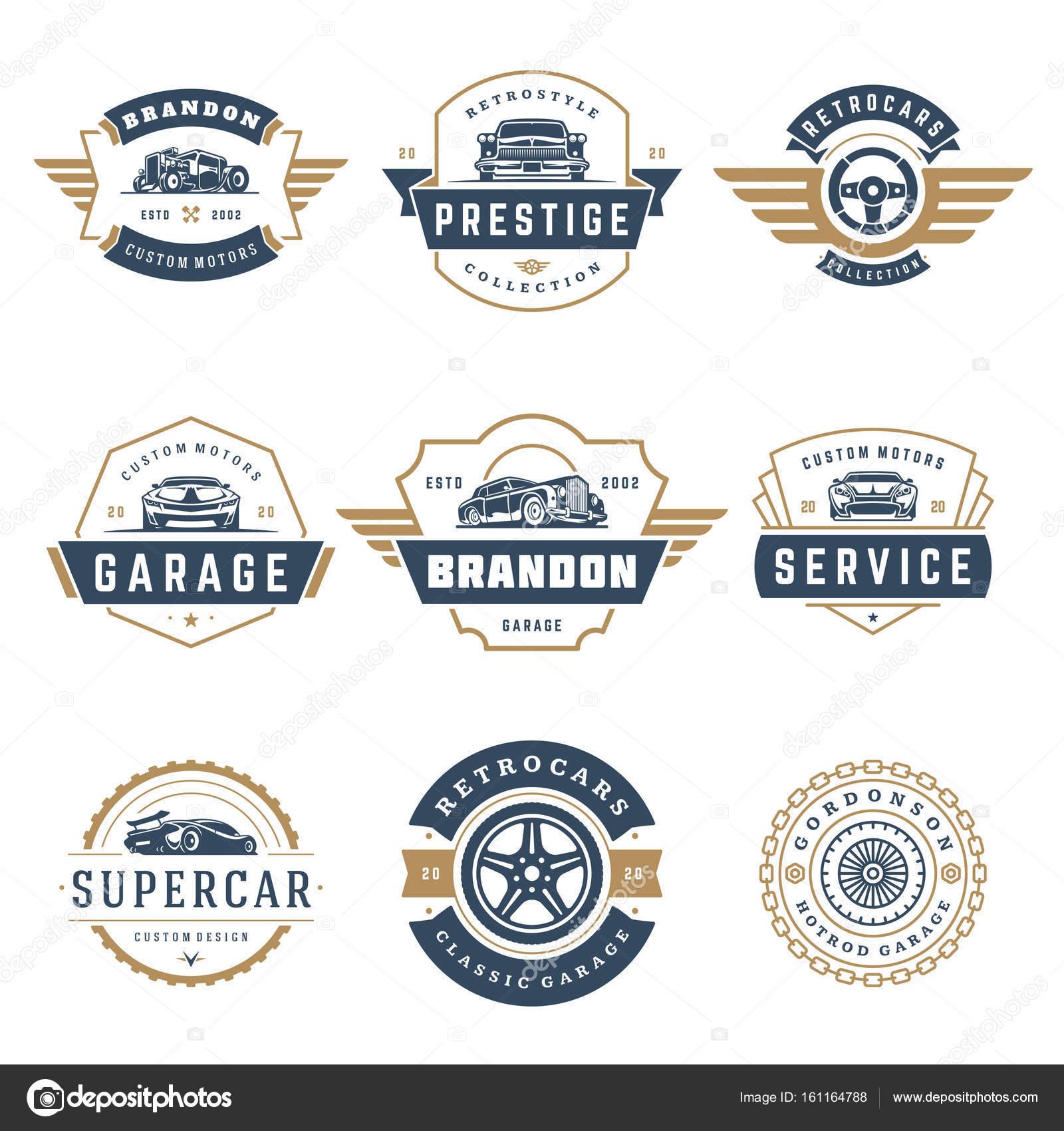 Auto Logos Vorlagen Vektor Elemente Designset, Vintage-Stil-Embleme ...