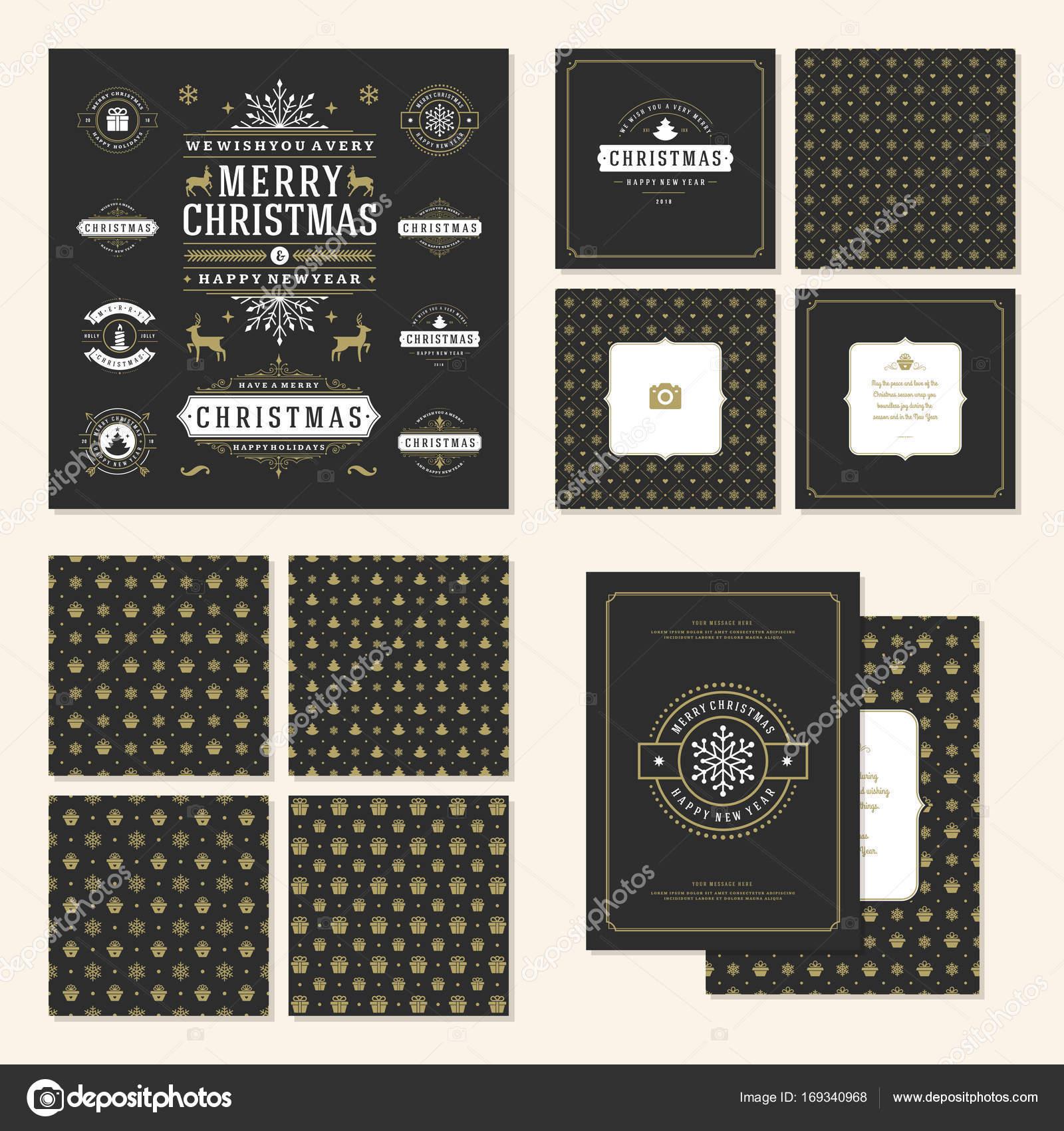 Navidad etiquetas y escudos vectoriales diseño conjunto de elementos ...
