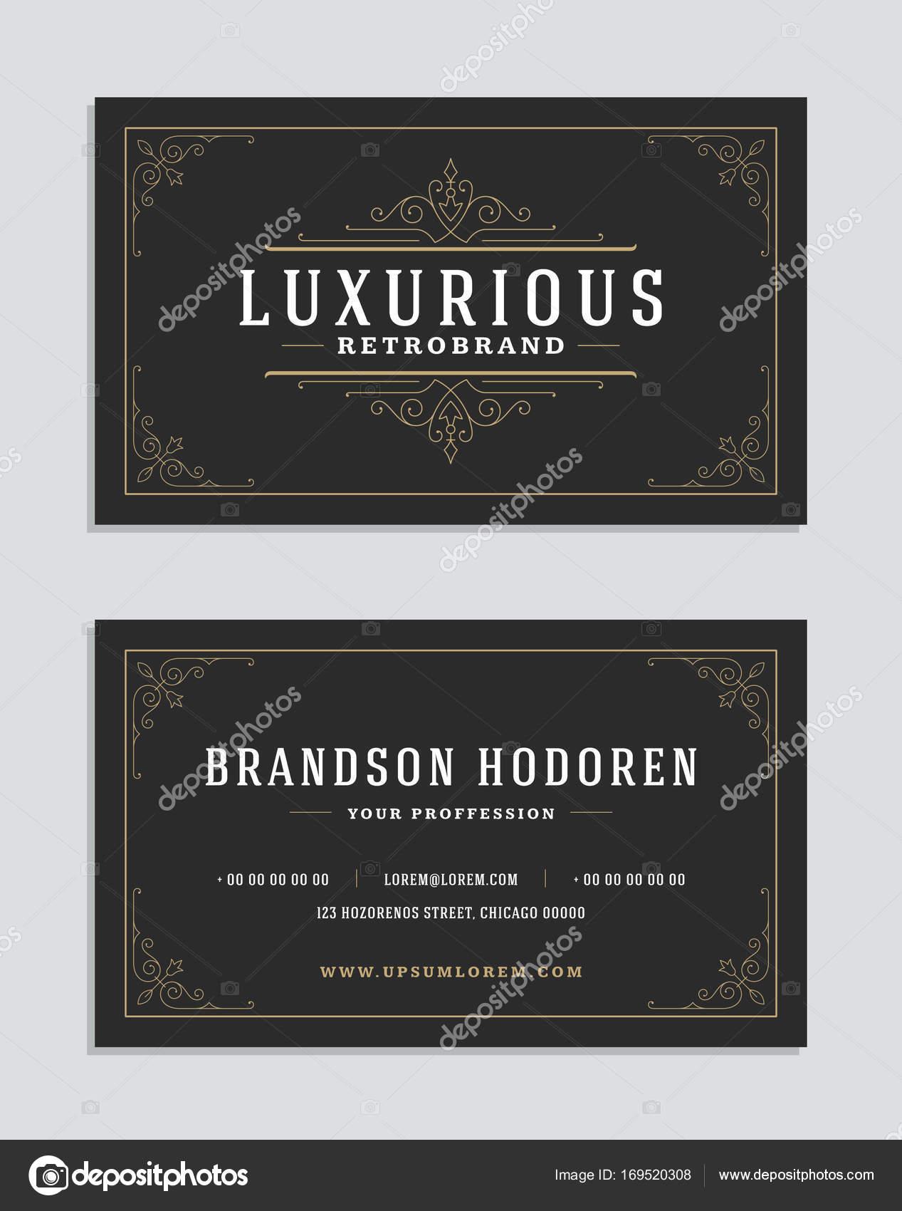 Visitenkarte Vintage Ornament Stil und Luxus Logo Vektor Vorlage ...