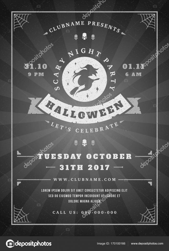 Halloween Feier Nacht Party Poster oder Flyer design — Stockvektor ...