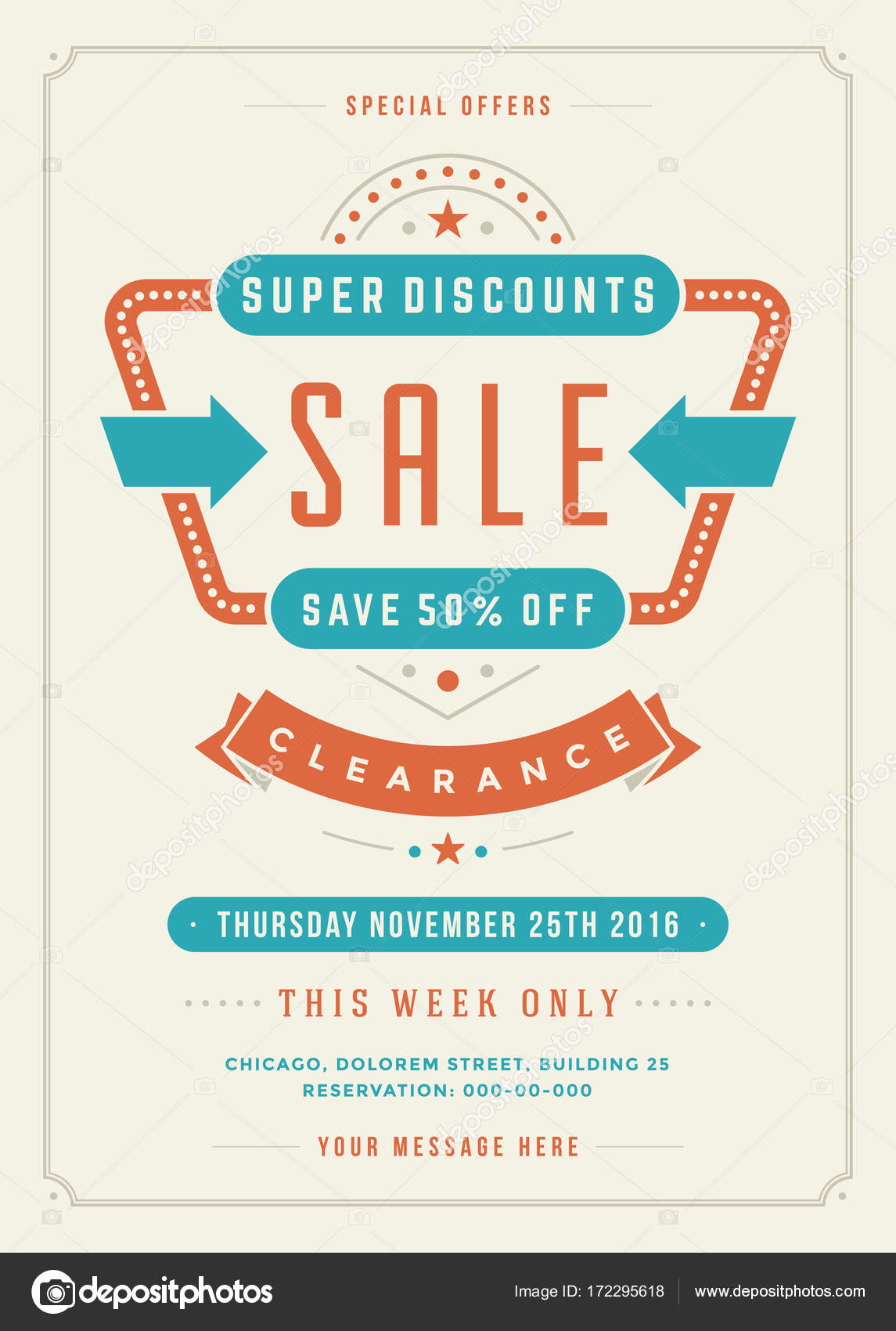 sale flyer or poster design discount offers and background stock