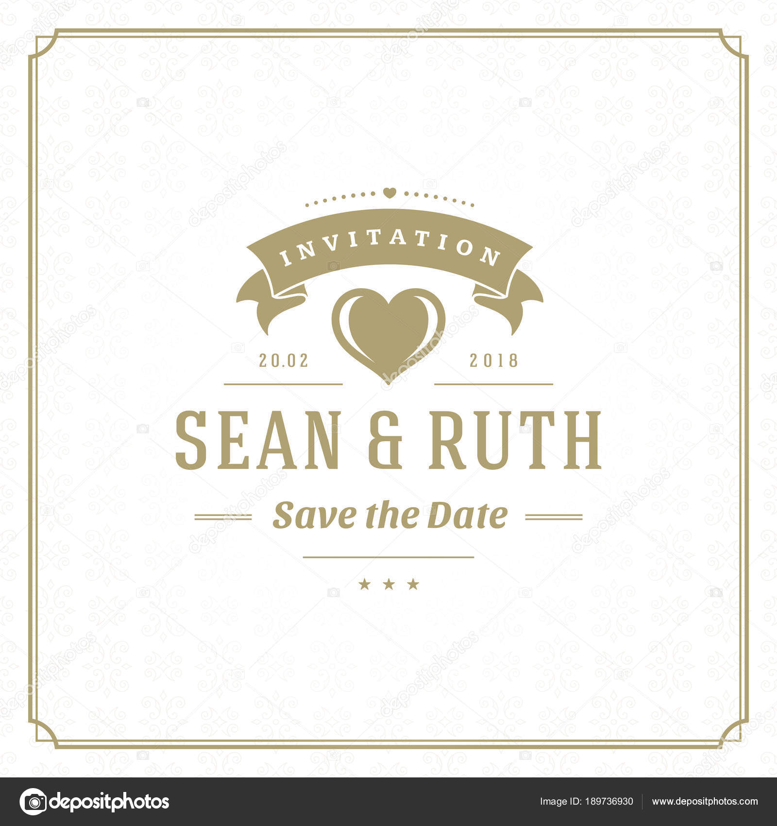 Wedding Date Invitation Card Vector Illustration Wedding Invite Title Vintage Stock Vector C Provectors 189736930