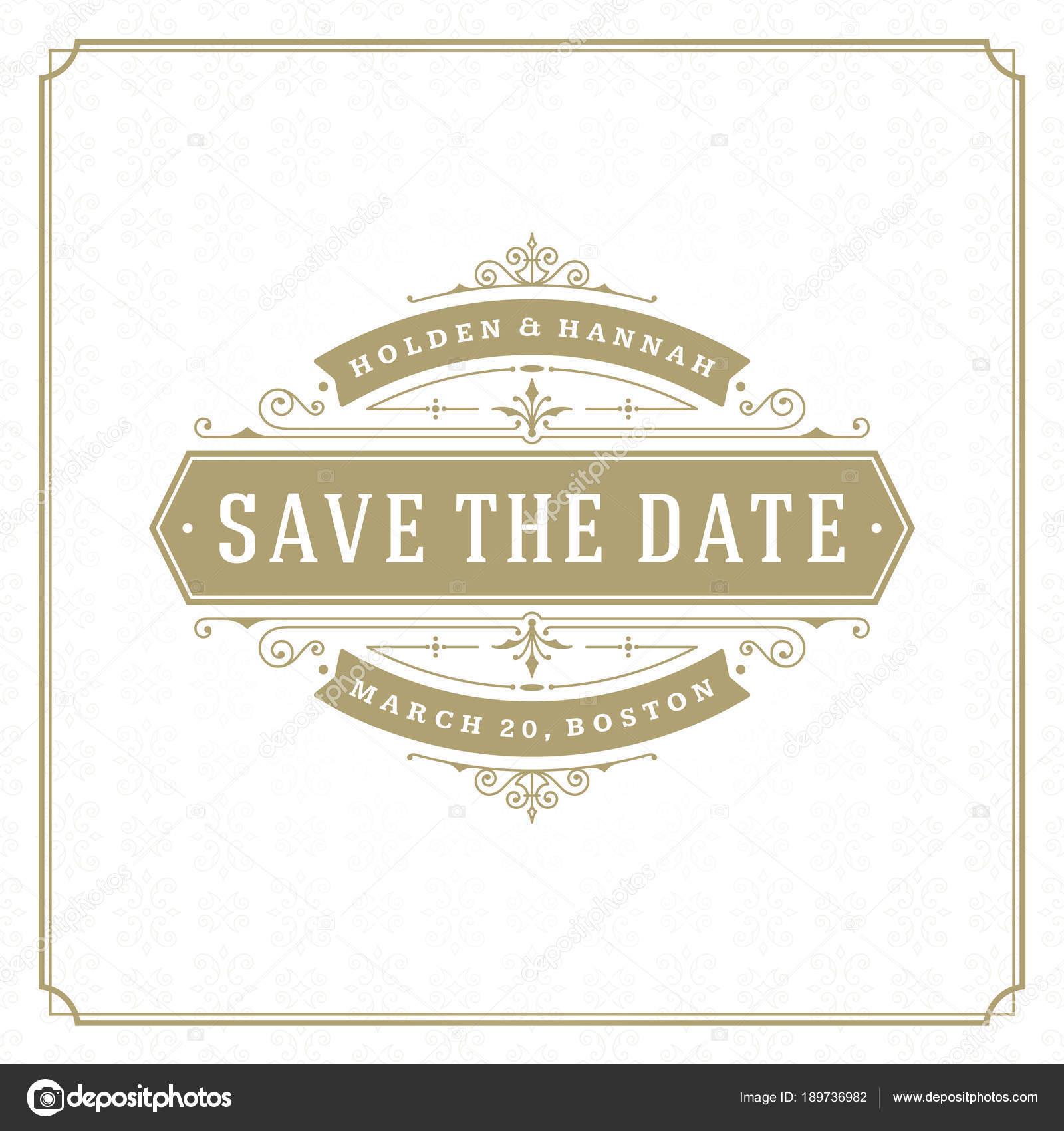Wedding Date Invitation Card Vector Illustration Wedding Invite Title Vintage Stock Vector C Provectors 189736982