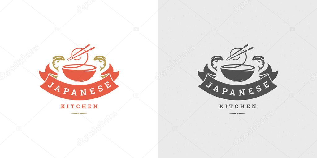 Sushi Logo And Badge Japanese Food Restaurant With Ramen Noodle Soup Asian Kitchen Silhouette Vector Illustration Vintage Typography Emblem And Label Design Premium Vector In Adobe Illustrator Ai Ai