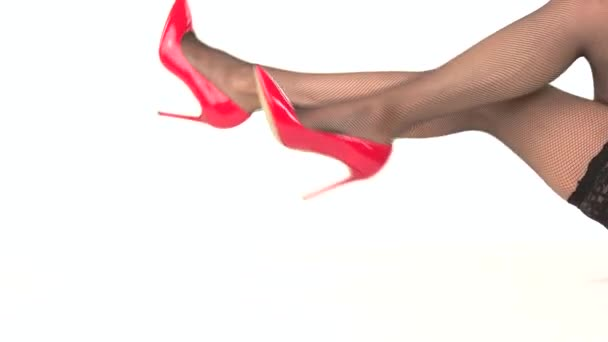 Female legs in shoes isolated.