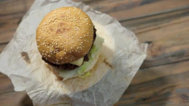 Cheeseburger top view.