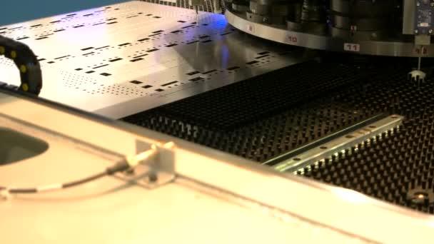 Cnc punching machine close up.