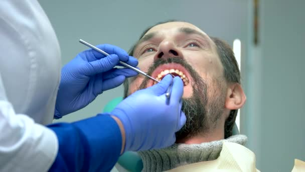 Adult person at the dentist.