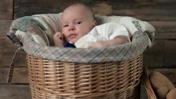 Small child in basket.