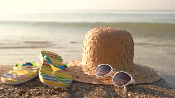 Wicker hat on the shore.