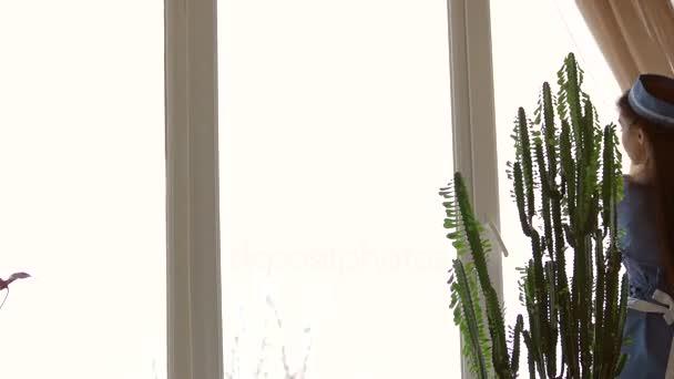 Mladá služebná čisticí okno
