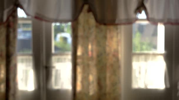 Blurred house door and windows.