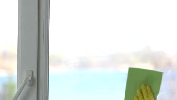 Hand mit Lappen-Wischfenster.
