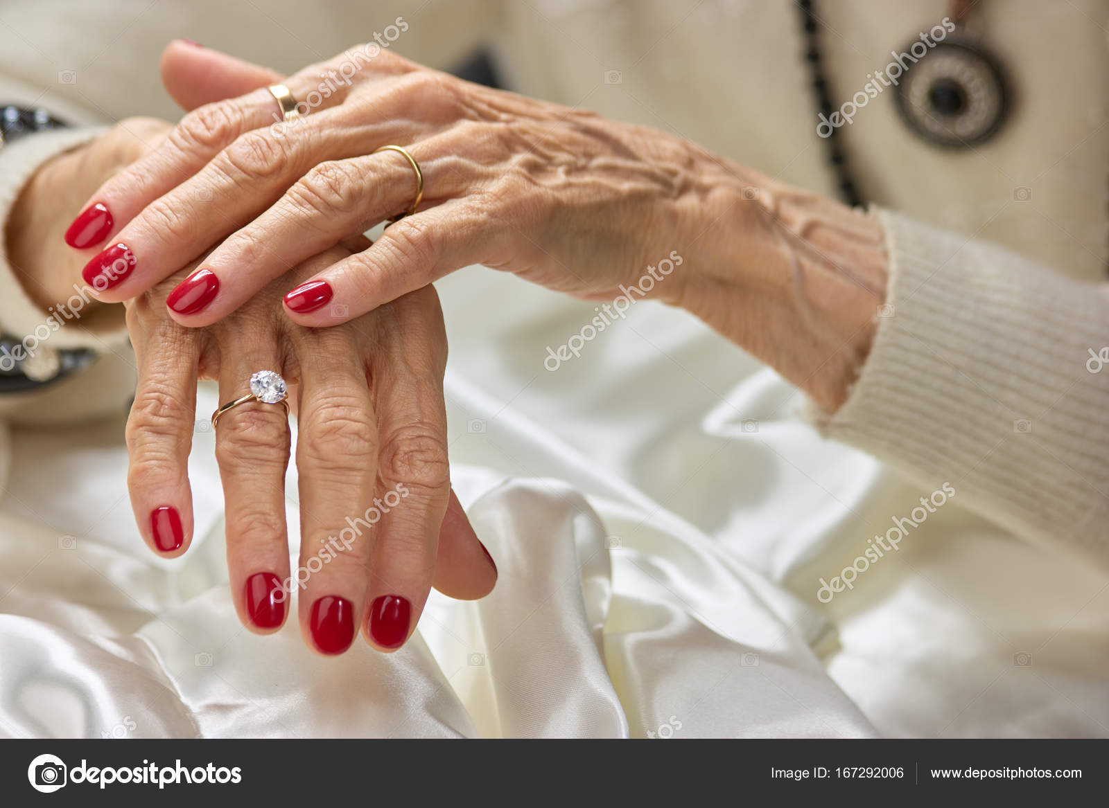 Old woman beautiful hands with rings. — Stock Photo © Denisfilm ...