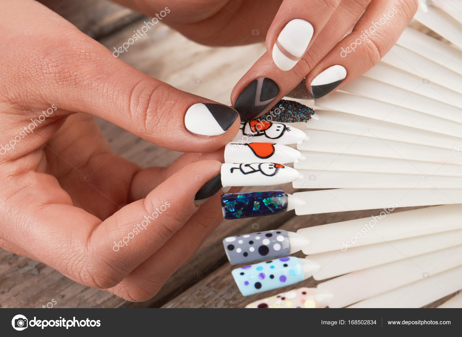 Close up of female hands and nail art samples. — Stock Photo ...