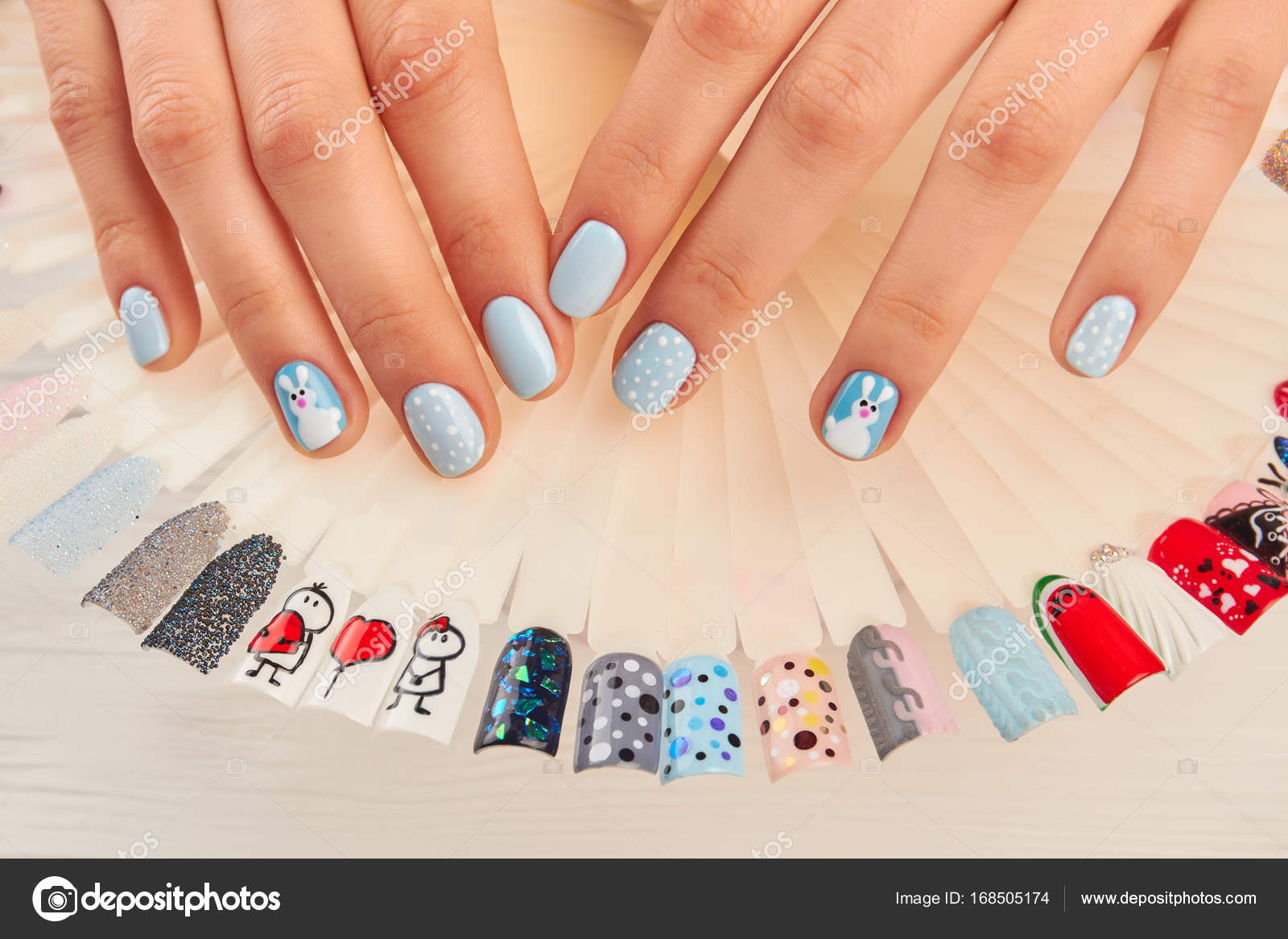 Manicured hands and nail art samples. — Stock Photo © Denisfilm ...
