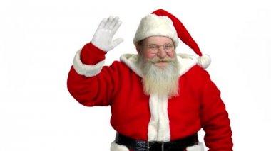 Santa waving hand, white background.