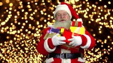Happy santa claus greeting stock video patronestaff 58800987 happy santa holding presents m4hsunfo