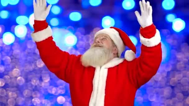 Santa Claus ukázal, osvětlení pozadí.