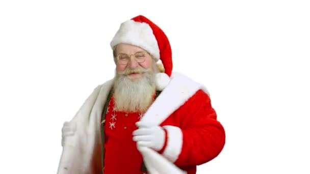 Tančící Santa na bílém pozadí.