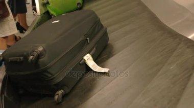 Bags on baggage carousel.
