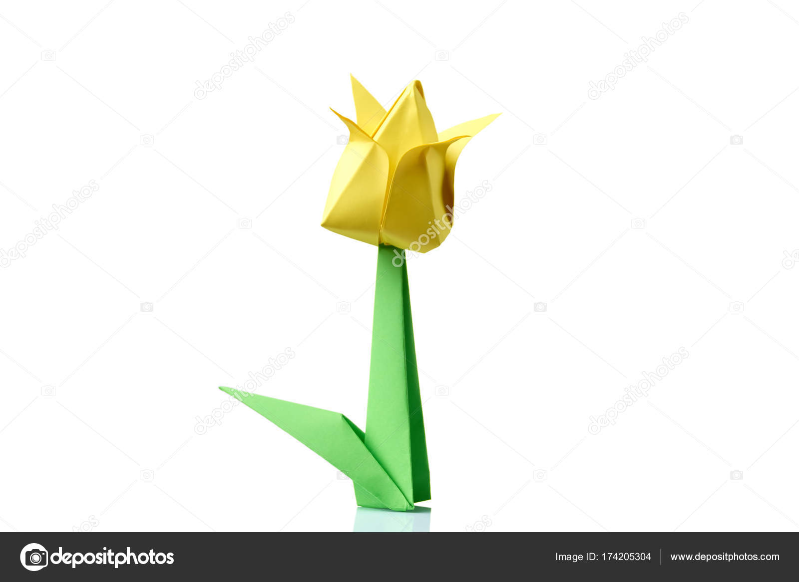 Yellow tulip origami flower stock photo denisfilm 174205304 yellow tulip origami flower traditional model of bulb and leaf simple origami crafting for beginners photo by denisfilm mightylinksfo