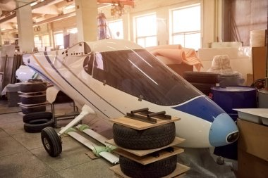 Fuselage in workshop.