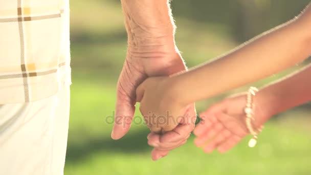 Malá holčička drží ruku dědeček.