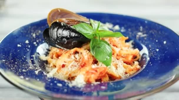 Seafood pasta close up.