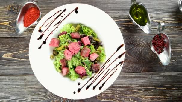 Beef salad top view.