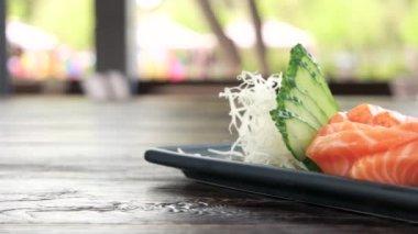 Sashimi plate close up.