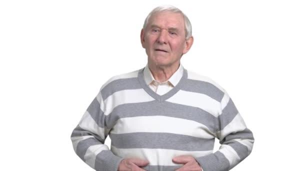 Starý muž s žaludeční problémy