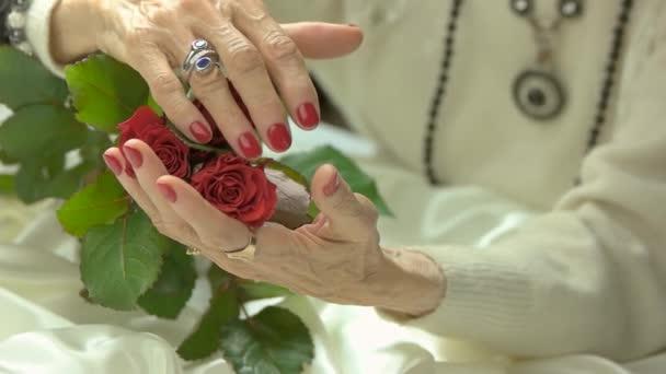 Perfektní manikúra a rudých růží, pomalý pohyb