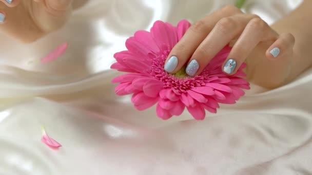 Hand tearing off gerbera petals, slow motion.
