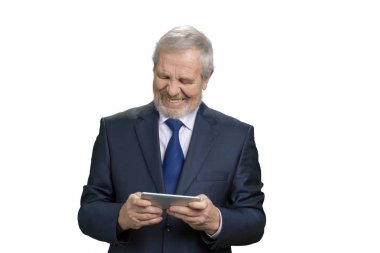 Happy cheerful old man with smartphone.